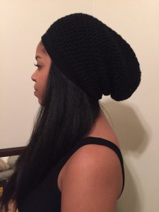 Slouchy Satin Lined Beanie from Etsy by KraftyKuzins3_ Winter Care Tips for Curly Hair_by Mixed Family Life for Multiracial Media